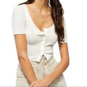 Free People Little Ribbed Cardigan Sweater